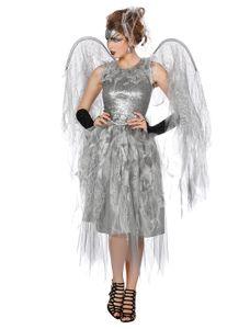 Kostüm Kleid Engel silber 2-tlg. Größe: 38