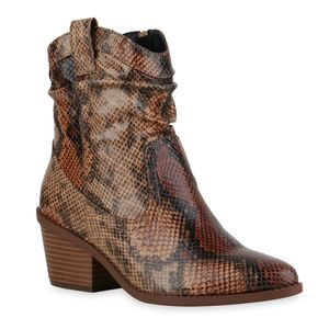 Mytrendshoe Damen Stiefeletten Cowboy Boots Schlangenmuster Kurzschaft-Schuhe 835618, Farbe: Hellbraun Braun Dunkelbraun Snake, Größe: 40