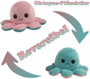 Oktopus-Plüschtier, Wendbar Spielzeug, Weiches Stofftier, Octopus Plüschtier Stofftier Puppe Kreative Spielzeuggeschenke für Kinder Mädchen Jungen Freundin Tik Tok(Pink und hellblau)