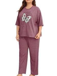 Sexydance Damen Schlafanzüge Schmetterling Pyjama Set Homewear Nachtwäsche Loungewear,Farbe:Lila,Größe:XXL