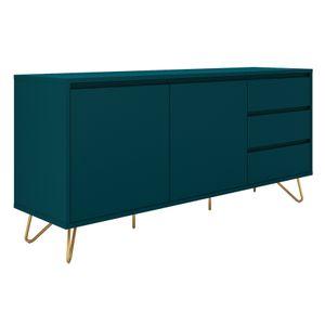 SalesFever Sideboard aus MDF | 2 Türen und 3 Schubladen | Beine Metall mit Messinglegierung | B 150 x T 40 x H 70 cm | blau