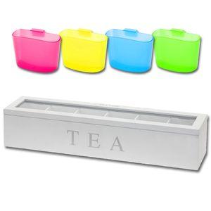 Teebox lang Weiß inkl. Teebeutel-Halter Teekiste Teekasten Teebeutelhalter Teedose Teebeutelkiste