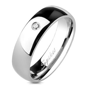 viva adorno Gr.62 (19,7 mm Ø) Band Ring Edelstahl Silber Poliert mit Zirkonia Damenring Herrenring RS56sz