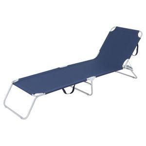 ECD Germany Sonnenliege Gartenliege 200x56x26cm Navy-Blau, Aluminiumrahmen, Klappbare Strandliege, Liegestuhl mit verstellbarer Rückenlehne, Relaxliege Dreibeinliege für den Garten Terrasse und Balkon