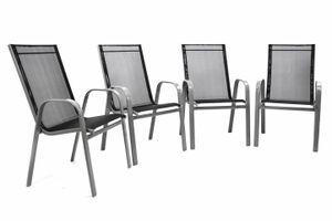 VCM 4er Set Gartenstuhl Stapelstuhl Hochlehner - Rahmen grau - Textilene schwarz