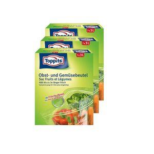 Toppits Obst- und Gemüse-Beutel 7x3Liter Hält biszu 3x länger frisch (3er Pack)