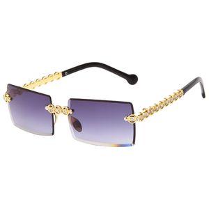 Trendy Mode Geometrie Randlose Sonnenbrille Damen Mädchen Anti-glare UV400 Schützen Sonne Brille Reise Radfahren Golf Gläser Ultraleicht Brillen Farbe Farbverlauf grau