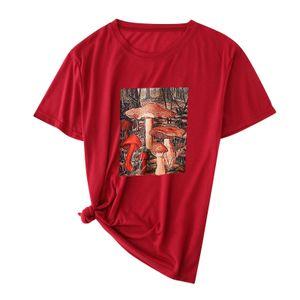 Frauen Pilze drucken Rundhalsausschnitt Kurzarm Weihnachtsdruck lose T-Shirt Top Größe:XXL,Farbe:Kupfer