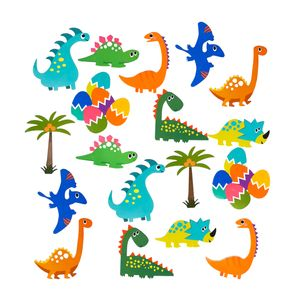 Oblique Unique Dino Konfetti 18 Stk. bunt Kinder Geburtstag Dekoration Jungs Dinosaurier Tisch Deko Streudeko