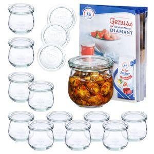 12er Set Weck Gläser 370ml Tulpenglas mit 12 Glasdeckeln inkl Rezeptheft