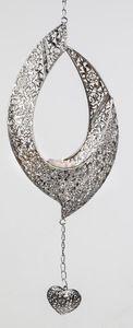 Formano Hänger Elipse Prado 48 cm silber Metall Leuchter mit Herz