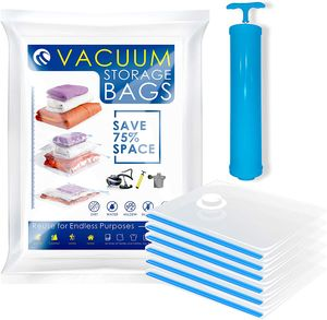 Vakuumbeutel Reise mit Handpumpe 6 Stück Aufbewahrungsbeutel Vakuum Beutel Wiederverwendbar & Kompressionsbeutel CM-588+CM-618