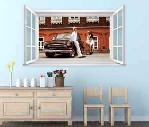 3D Wandtattoo Fenster Retro Auto PKW Wand Aufkleber Wanddurchbruch Wandbild Wohnzimmer 11BD1288, Wandbild Größe F:ca. 162cmx97cm