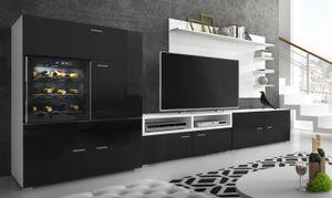 Moderne Wohnwand mit Kühlschrank/Weinkühlregal. Mattweiß mit schwarzer Front, Maße: 295 x 175 x 57/40 cm Tiefe.