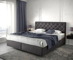 Bett Dream-Great Schwarz 180x200 cm mit Matratze und Topper Boxspringbett