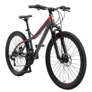 BIKESTAR Hardtail Aluminium Mountainbike 26 Zoll, 21 Gang Shimano Schaltung mit Scheibenbremse | 16 Zoll Rahmen MTB Erwachsenen- und Jugendfahrrad | Grau & Rot