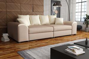 Big Sofa Couchgarnitur WELLS Megasofa Sofa in Cappuccino-Creme