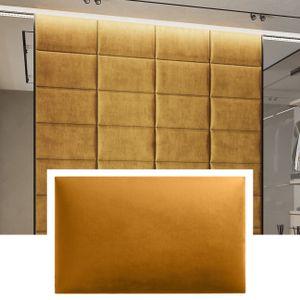 3D Wandpaneel Samt mit 50mm Polsterung - Wandverkleidung - inkl. Montagepads - Wandkissen - Polster - Paneel - Kopfteil - Goldgelb 50 x 30 cm