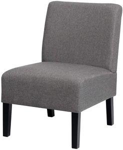 COSTWAY Loungesessel mit Hozbeinen, Polsterstuhl Ohrensessel Clubsessel Lesestuhl Couchsessel Cocktailsessel ideal für Wohnzimmer und Schlafzimmer, 53 x 71 x 81cm, grau