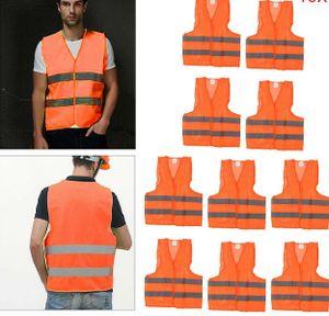 5x Warnweste Orange Sicherheits Weste Signal Unfall Warnwesten Set mit Tasche