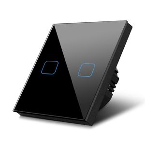 Glas Touch Lichtschalter Wandschalter Touchscreen Schalter LED Beleuchtung schwarz 2-fach Schalter rechteckig
