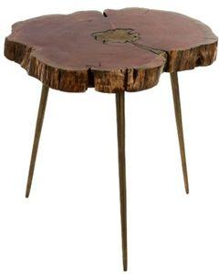 Casa Padrino Luxus Dreibein Beistelltisch Braun / Messingfarben 61 x 71 x H. 43 cm - Moderner Tisch im Baumscheiben Design und Messingfüllung
