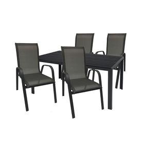 Gartengarnitur Sitzgarnitur 5-teilig 160x90cm Polywood Anthrazit/Schwarz 1x Tisch + 4x Stapelstuhl