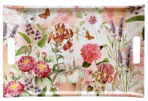 Lashuma Großes Esstablett 47x31 cm, Getränketablett beige rot Design: Wildblumen, Tablett Melamin