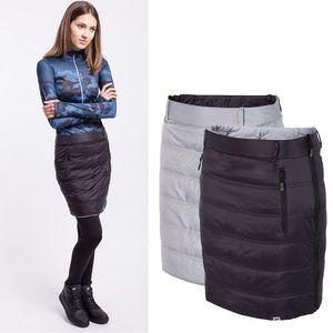 4F -Synthetische Daune Wenderock - Damen Wanderrock - silber grau / schwarz, Damengröße:40/L