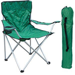 Anglersessel mit Getränkehalter und Tasche Grün belastbar bis 120kg