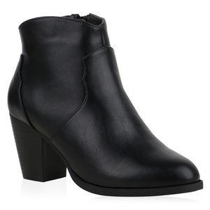 Mytrendshoe Damen Cowboy Boots Stiefeletten Ankle Boots Schuhe 835608, Farbe: Schwarz PU, Größe: 38