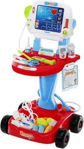 Arztwagen Kinder Doktor Trolley Elektrisch Schiebbar Viel Zubehör Rollenspiele,tragbares Krankenhaus-Spielset für Kinder