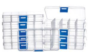 VBS Großhandelspackung 10er-Pack Sortimentsboxen transparent eckig 10 Fächer 3x2,4x2cm