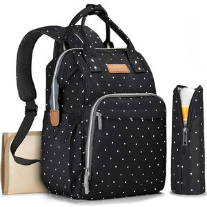 Ankommling Baby Wickelrucksack Wickeltasche mit Wickelunterlage Multifunktional Oxford Große Kapazität Babyrucksack(schwarzer Punkt)
