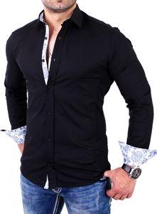 Reslad Herren Hemd Paisley Design Langarmhemd RS-7207 Schwarz M
