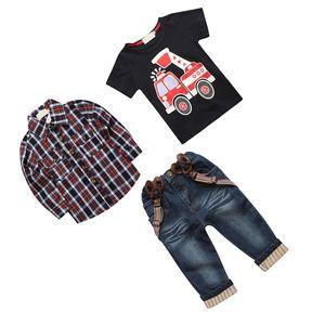 3pcs Kinder Babys Shirt + T-Shirt + Strapse Denim Jeans-Outfits