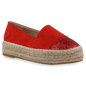 Giralin Damen Slippers Espadrilles Plateau 836705, Farbe: Rot, Größe: 39