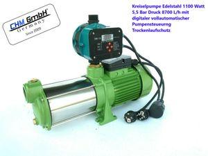 Kreiselpumpe 1300 Watt 5,5 Bar 6000 L/h und vollautomatische digitale Pumpensteuerung mit Trockenlaufschutz