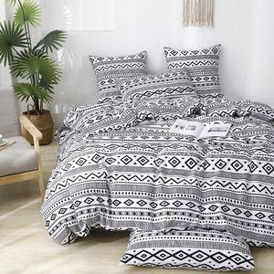 Boho Bettwäsche Schwarz und Weiß Wendebettwäsche Microfaser Modern Geometrische Muster Einzelbett 135x200cm Bettbezug mit 80x80cm Kissenbezug