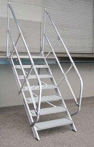 Günzburger Steigtechnik Treppe 60° Stufenbreite 800mm 8 Stufen Aluminium geriffelt
