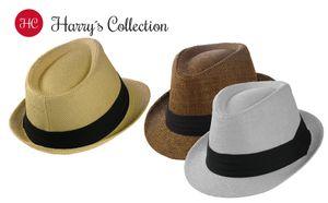Trilby Hut in 3 Farben mit schwarzem Stoffband, Kopfgröße:Einheitsgröße, Farben:weiss