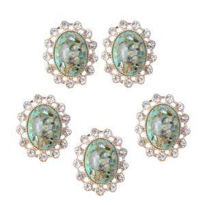 5 Stück Legierung Acryl Kristall Flatback Buttons Knöpfe Hochzeitskleid Verzierungen Strass Steine zum Verzieren