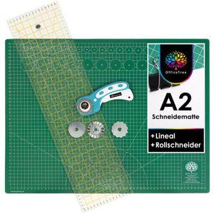 OfficeTree Set Schneidematte A2 grün + Rollschneider + Lineal 60x16 cm - für professionelle Schnittarbeiten