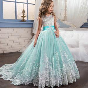 Mädchen Prinzessin Kleid Blumenmädchen Hochzeitsfest Kleid Nachlaufender Rock, Größe:150 Blau