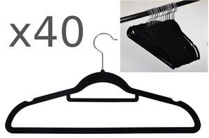 40er Set rutschfeste Kleiderbügel Samt-Bezug beflockt Hosenbügel Platzsparend