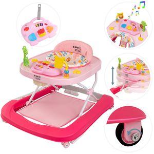 ib style®LITTLE DINO Babywalker Gehfrei abnehmbares Spielzeug Lauflernwagen Licht & Sound ROSA