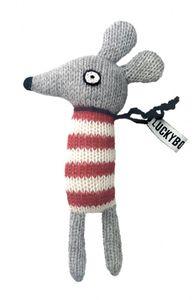 LuckyBoySunday kuschelmaus junior 14 cm Alpaka-Wolle grau/rot
