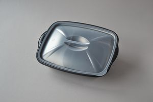 200 Stück Mikrowellenschalen 2-geteilt mit Deckel, 1000 ml, (schwarz, PP), Kunststoffschale, Thermoschale, Menüschale, Imbiss-Schale, Lunch Box