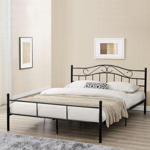 Metallbett 200x200cm Schwarz Bett Bettgestell Doppelbett + Lattenrost [en.casa]