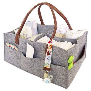 Baby Windel Caddy Filz,tragbarer Wickeltisch Organizer Multifunktionale Wickeltasche,Filzkorb Aufbewahrungsbox (Grau)
